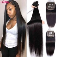 Straight Closure 5x5 6x6 HD Peruvian Hu Hair With Frontal And 3 4 Bundl Weave 30 Inch Remy Extension