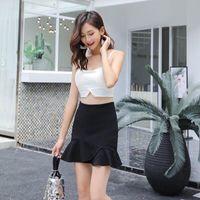 Skirts Fish Tail Skirt Suit-dress Half-body High Waist A Word Black Package Buttocks Lotus Leaf Edge Short Mini