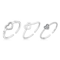 925 Sterling Silver Plane Heart Ring Opening and Closing Adj...