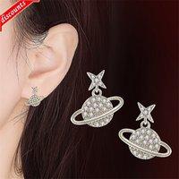 Orecchini del globo di modo di modo coreano Asymmetric full Diamond Star Earth New Versatile femmina JED486