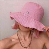 Jacq -Summer Bucket Femme Chapeaux Bords De RAW Toile Cordon Cordon Sun Hat