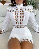 Hirigin Elegant Office Lady 2021 Summer Holiday Hollow Out Night Party Women Jumpsuit Sexy Mode Full Mouw Game Packag