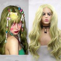 Peruki syntetyczne Kędzierzawy Koronki Przednia Ciała Fala Ciemna Neon Wapno Mint Zielona Peruka Lolita Cosplay Czołowa Podświetlenie Włosy Dla Czarnych Kobiet