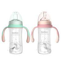 مع 3 مصاصة الطفل تغذية زجاجة الطفل زجاجة المياه عريض عيار منقار البط كوب الحليب ارتفاع درجة الحرارة مقاومة pp زجاجة 1330 Y2
