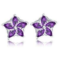 Sterling Silver Earrings Stud Purple Crystal Flower Zircon Diamond Earring Jewelry for Women 18K White Gold Plated