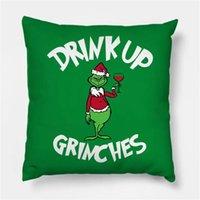 Drink Up Grinch Merry Christmas gift Pillowcase Xmas Decor for Home Decor for Christmas Ornaments Xmas Noel Santa Claus 2021 FY4979