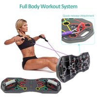 Multifunction Foldable Push Up Board Fitness Body Building Push-up Stands with Resistance Tube Bands Muscle Training Equipment X0524