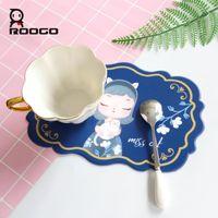 Tapis Tapis Roogo Silicone Dream Girl Girl Girl Coupe Set de Coupe Pour Table De Dîner Mignon Pad Cute Coasters Cuisine Tapis de plateau