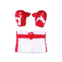 Baby Photo Photography Photography Costume Hat Мальчики Девушка вязание крючком вязание одежды боксер боксерские перчатки + брюки набор для младенца ребенка 58 z2