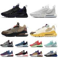 Nike Air max 270 react أعلى جودة 270s رد النساء أحذية رياضية المدربين الثلاثي الأبيض الأسود الصبار ترافيس براون رمادي الولايات المتحدة الأمريكية البرتقال النيون