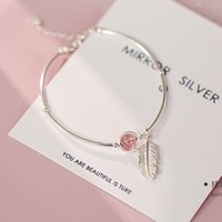 925 Sterling Silver Crystal Round Bead Feather Charm Bracelet & Bangles Adjustable Braclets For Women Wedding Jewelry SL261
