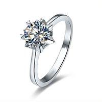 스털링 실버 링 1CT 눈송이 쥬얼리 NSCD 시뮬레이션 다이아몬드 약혼 반지 솔리테어 여성 결혼 선물 상자