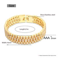 Hip Hop Aaa Cz Stone Paved Bling Iced Out Watch Band Link Chain Bracelets Bangle for Men Rapper Jewelry Drop Gold