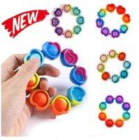 Dhl snabb fidget armband reliver stress leksaker regnbåge bubbla push it antistress leksak vuxen barn sensory för att lindra autism armband cy20