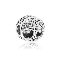 Family Tree Round Alloy Charm Loose Bead For Pan European Style Bracelet Snake Chain Or Necklace Fashion Jewelry
