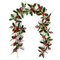 Dekorative Blumen Kränze 2021 6 / 8ft Rote Beere Weihnachten Girlande, flexible künstliche Girlande für Kamin Dekoration Winterdekor