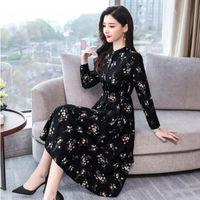 Women's Vintage Floral Print Chiffon Party Dress Spring Autumn 2021 Korean Bottom Long Sleeve Length Skirt Undefined Evening Casual Dresses