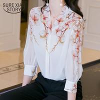 화학 자이어 Femme 여름 캐주얼 느슨한 간단한 흰색 새틴 셔츠 여성 우아한 인쇄 V 넥 짧은 소매 실크 블라우스 9720 210510