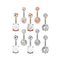 & Bell Jewelryzircon Belly Button Rings For Women Girls Stainless Steel Navel Barbell Ring Body Piercing Jewelry 5Pcs Set Drop Delivery 2021