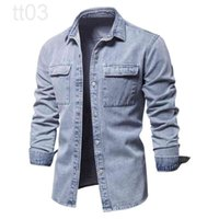 AIOPESON 100% Cotton Denim Shirts Men Casual Solid Color Thick Long Sleeve Shirt for Men Spring High Quality Jeans Male Shirt 3