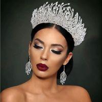 Luxury Bridal Crown Tiara Headband Wedding Earrings birthday party princess Crowns Earring jewels brides jewelries
