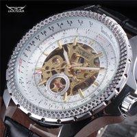 Män mekaniska klockor Jaragar Mäns Automatiska Skelett Äkta Läderband Svart Auto Datum Armbandsur