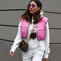 Women's Vests 2021 Women Fashion Elegant Waistcoat Short Down Pink Vest Coat Double Wear Outwear All-Match Cotton Padded Sleeveless Tops