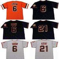 Men 6 J.T. SNOW 21 JEFF KENT San Francisco 1993 Baseball Jersey