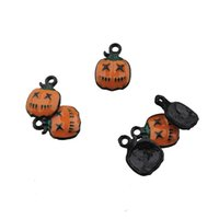 charms fit Halloween jewelry diy components crafts pumpkin lamp epoxy enamel black woman man kids necklace bangles make jewelery findings 15*11*8mm 50 pieces 1 bag