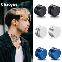 Magnet Earrings For Men Non Piercing Black Stud Stainless Steel Magnetic Ear Punk Jewelry 1 Pair