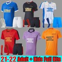 Rangers 21 22 كرة القدم الفانيلة الصفحة الرئيسية Thirth Third Glasgow Training Defoe Hagi Barker Morelos Tavernier 2021 2022 Mailleot Football Shirt Men + Kids Kit