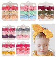 Baby Girls Headbands Knot bow Nylon Hairband Elastic rabbit Ear Turban Solid Headwear Accessories 3pcs set