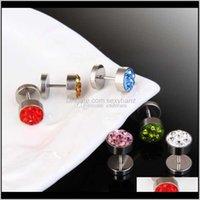 Crystal Stainless Steel Dumbbell Stud Earrings Hip Hop Fashion Jewelry For Women Men Will And Sandy Drop R1Gaa Egjbs