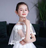 Jackets Kids Girls White Beige Tulle Mesh Wraps Lace Children Bolero Short Wedding Jacket Summer Shawls Cape Cover Over Shoulders