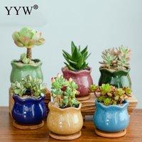 Vases 6pcs Lot Ice Cracked Ceramic Flower Pot Set Succulent Desktop Potted Plant Mini Flowerpot