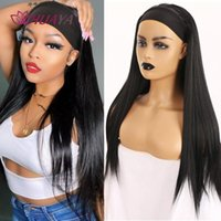 Synthetic Wigs HUAYA 70cm Long Straight Wig With Headwrap Heat Resistant Headband For Black Women Turban