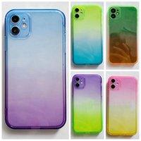 Casos de TPU de borde recto de gradiente de lujo para iPhone 12 Mini 11 Pro MAX XR X XS 8 7 PLUS CRISTAL DE CRISTAL FINAL DE CUERCO DUAL TRANSAREPNT JELLY TELÉFONO CUBRA DE Moda