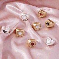 Новое капля масло любовь кольцо цвет панк персика сердце обручальное кольцо для женщин Trend Street Photography аксессуары оптом ювелирные изделия Y0420