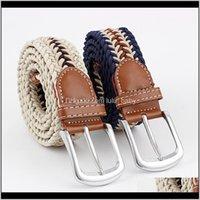 Cinturones para mujer para mujer Wovon Metal Drild Hebilla Cinturón de lona Elástica S546 LF44T YJ9NS