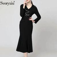 Повседневные платья Svoryxiu Осень мода женщина черный MIDI рыбийство платье V-образным вырезом из бисером оборками с твердой тонкой вечеринке вечером элегантный