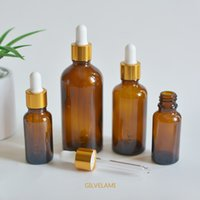 5ml-100ml Amber Glass Essential Oil Dropper Bottles with Golden Caps Empty DIY Cosmetic Drop Packaging Makeup Container