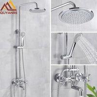 Quyanre Chrome Bath Shower Faucet Set Wall Mount System Cold Water Mixer Tap Rainfall Bathroom Sets
