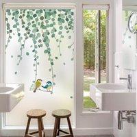 Stickers de fenêtre Modèle de plante Feuille de feuilles Film dépoli Statique Cling Verre Vitre Décoratif Sticker Stickers imperméable
