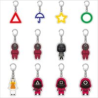 2021 Key Chain Fidget Squid Game Wooden Games Decompression Bubble Music Masked Man Keychains Creative Gift 12 Styles High Quality