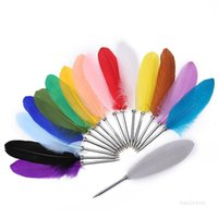 Party Favor Retro Feather Ball Pen Student Prize Gift Feathers Pens Novel Ballpoint quill Back to School Stationery T9I001236