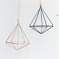 hanging Air Plant Holder Modern Geometric Planter Container Air Plant Rack Planters Pots Wall Decor five sided NHB8935