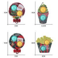 Decompression toy finger bubble music Christmas pattern keychain pops push Fidget sensory toys ice cream lollipop potato chip Fidgets snowman pressure releaser