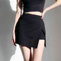 Korean High Waist Long Legs Side Slits Anti Skirt Short With Safety Women Front Mini Skort In Black QA75 210603