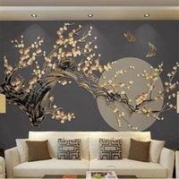 Wallpapers Milofi Size Custom 3D Printing Wallpaper Mural Chinese Plum Blossom Bright Moon Golden Embossed Line Background Wall
