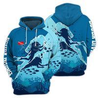 Men's Hoodies & Sweatshirts Scuba Diving Female Design 3D Print XS-7XL Man Women Harajuku Outwear Zip Men Pullover Sweatshirt Casual Unisex